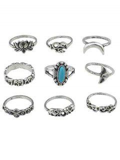 Floral Artificial Gem Finger Rings Set - Silver One-size