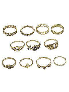 Flowers Leaves Design Finger Rings Set - Gold One-size