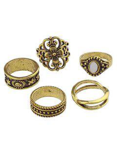 Hollow Flower Artificial Gem Finger Rings Set - Gold One-size