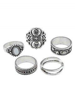 Hollow Flower Artificial Gem Finger Rings Set - Silver One-size