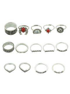 Alloy Artificial Gem Finger Rings Set - Silver One-size