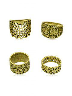 4Pcs Vintage Wide Ring Set - Gold One-size