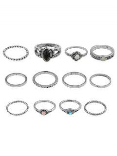 Rhinestone Artificial Gem Rings Set - Silver One-size