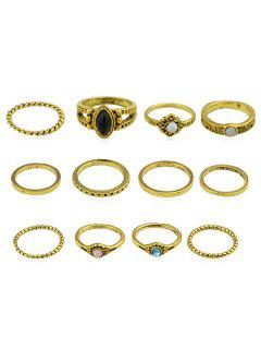 Rhinestone Artificial Gem Rings Set - Gold One-size