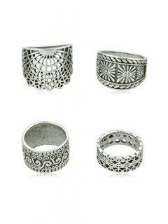 4Pcs Vintage Wide Ring Set - Silver One-size
