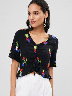 Flare Sleeve Printed Blouse - Black S