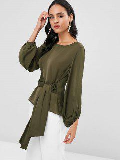 Knotted Lantern Sleeve Blouse - Army Green L