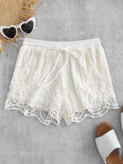 Drawstring Crochet Shorts - White