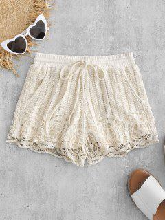 Drawstring Crochet Shorts - Cornsilk