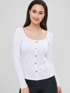 Buttoned Ribbed Top - White L