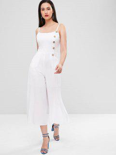Button Embellished Smocked Slit Jumpsuit - White S
