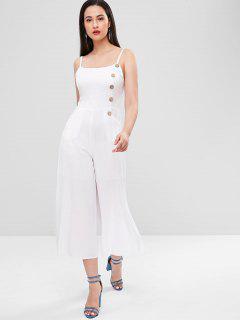 Button Embellished Smocked Slit Jumpsuit - White M