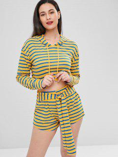 Striped Crop Hoodie Shorts Set - Sun Yellow Xl