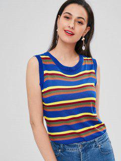 Colorful Striped Sleeveless Sweater - Multi