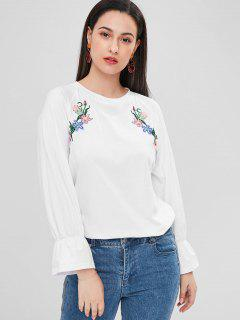 Flower Embroidered Raglan Sleeve T-shirt - White 2xl