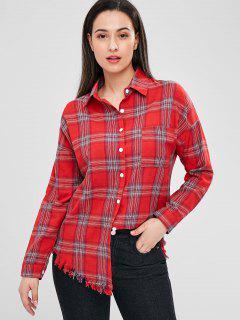 Raw Hem Checked Shirt - Multi