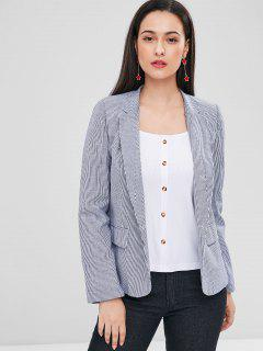 Striped One Button Pocket Blazer - Gray L