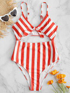 Striped Tie Front Cutout Swimsuit - Lava Red L