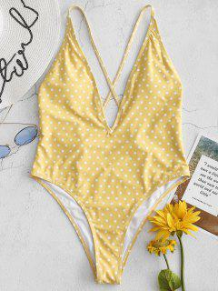 Polka Dot Low Cut One Piece Swimsuit - Rubber Ducky Yellow L