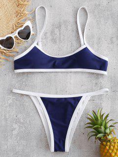 ZAFUL Bikini Sans Armature à Bordure Contrastée - Bleu Foncé Toile De Jean S