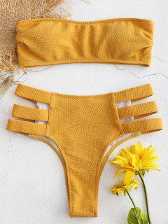 Strukturiertes Bandeau-Ausschnitt-Bikini-Set - Helles Gelb L