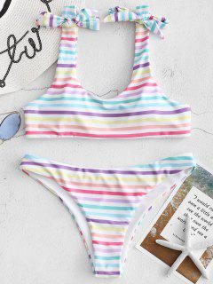 Bowknot Colorful Striped Bikini Set - Multi L
