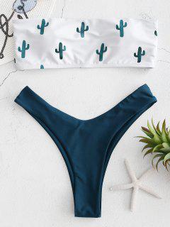 Ensemble De Bikini Bandeau à Imprimé Cactus - Bleu Verdâtre S