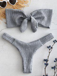 Gesmoktes Bandeau-Bikini-Set - Blaugrau L