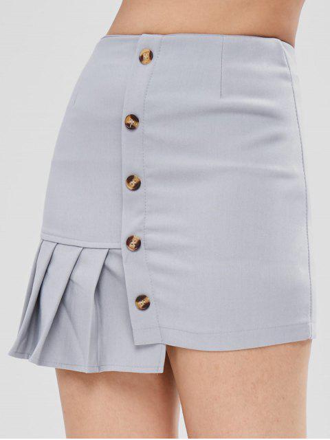 best Pleated Asymmetrical Skirt - WATER M Mobile
