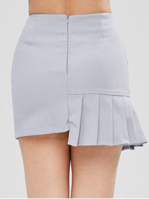 online Pleated Asymmetrical Skirt - WATER L Mobile