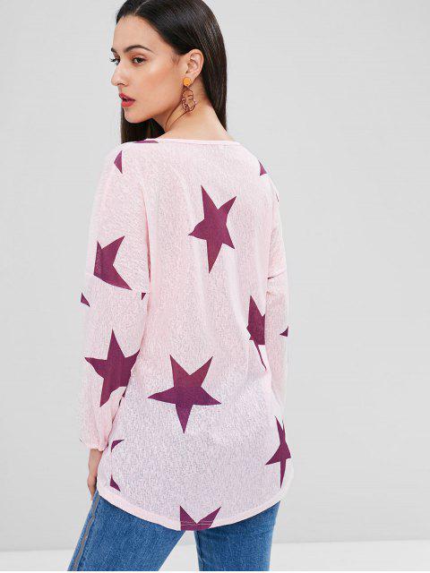 T-Shirt Long Etoile Graphique - Rose Léger  L Mobile