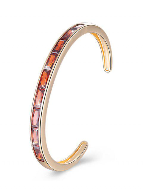 women Retro Crystal Inlaid Alloy Cuff Bracelet - RED  Mobile