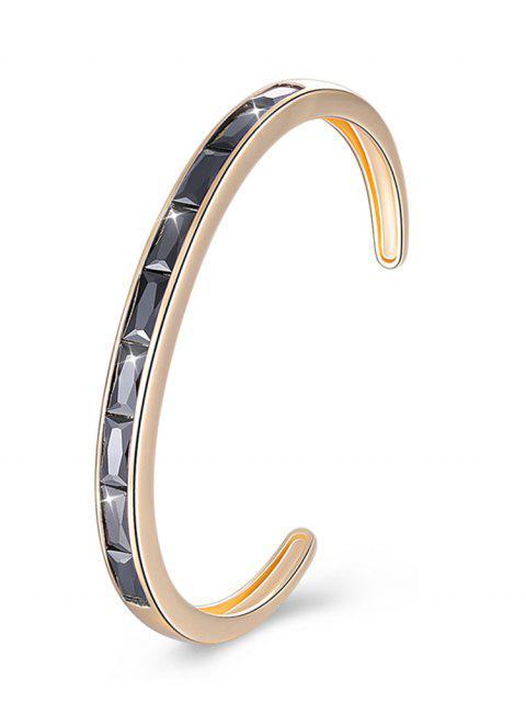 Bracelet de Manchette Rétro Cristal Incrusté en Alliage - Noir  Mobile