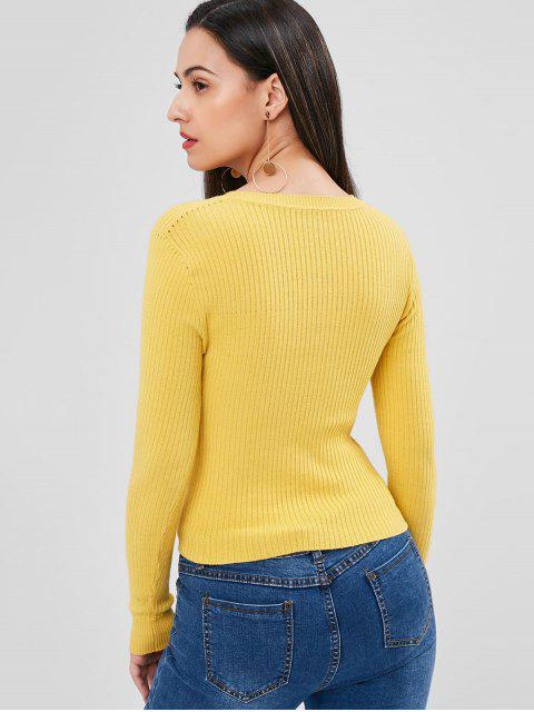 women Ribbed Twisted Sweater - YELLOW ONE SIZE Mobile