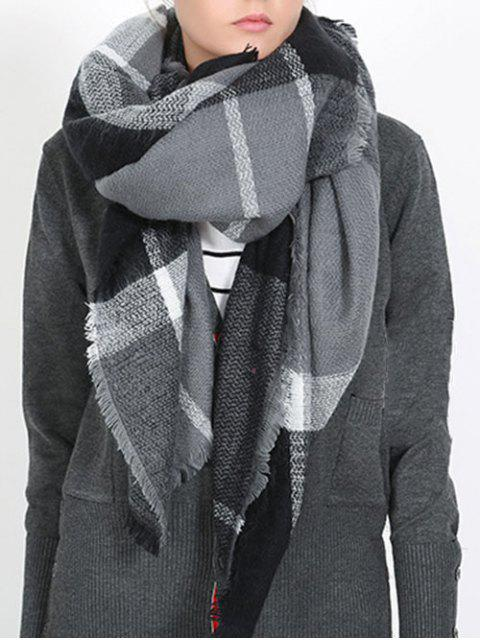 lady British Style Plaid Pattern Soft Scarf - NATURAL BLACK ONE SZIE Mobile