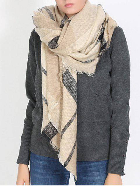 outfit British Style Plaid Pattern Soft Scarf - APRICOT ONE SZIE Mobile