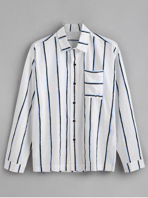 Camisa de manga larga estampada de rayas verticales con bolsillo en el pecho - Azul 3XL Mobile