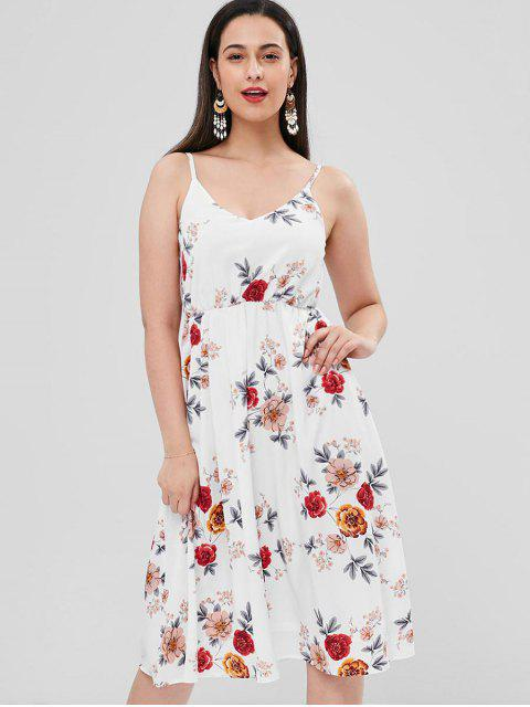 trendy Floral Cami Flare Dress - WHITE S Mobile