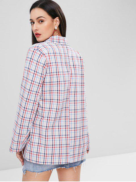 lady Gingham One Button Tunic Blazer - MULTI-A S Mobile