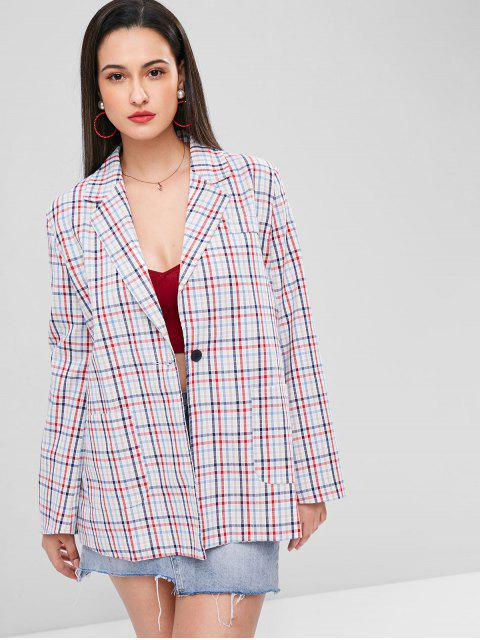 best Gingham One Button Tunic Blazer - MULTI-A M Mobile