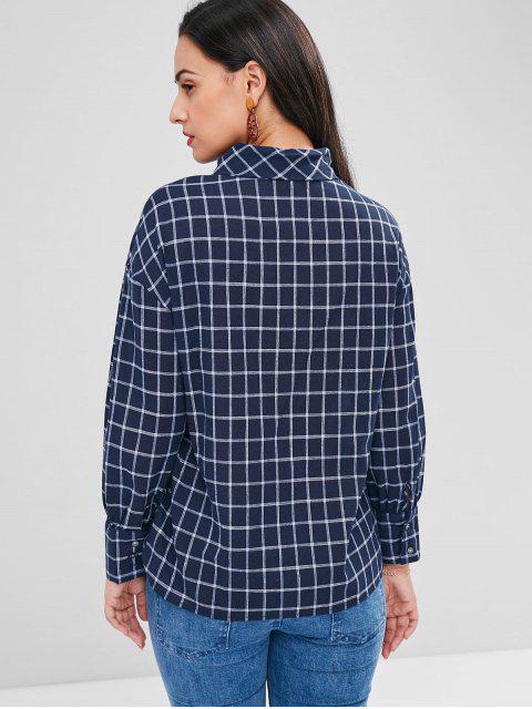 chic Plaid Bow Tie Neck Blouse - DEEP BLUE S Mobile