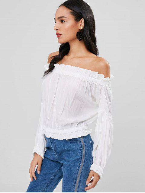 buy Off Shoulder Ruffle Blouse - WHITE ONE SIZE Mobile