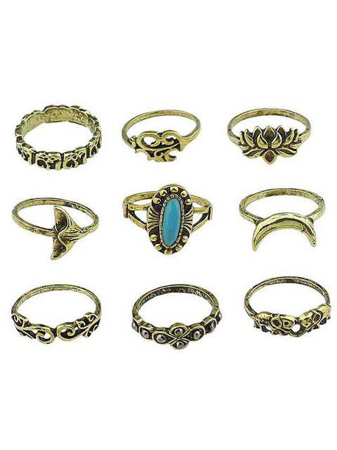 chic Floral Artificial Gem Finger Rings Set - GOLD ONE-SIZE Mobile