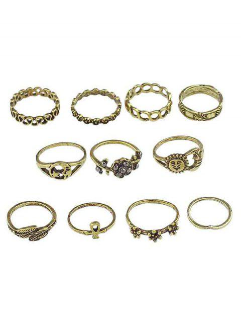 women's Flowers Leaves Design Finger Rings Set - GOLD ONE-SIZE Mobile