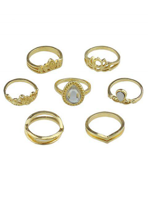Set de anillos de dedo de diseño de gota de agua de flor hueca - Oro Uno de tamaño Mobile