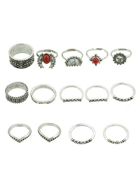 Alliage Artificielle Gem Finger Rings Set - Argent Taille Unique Mobile