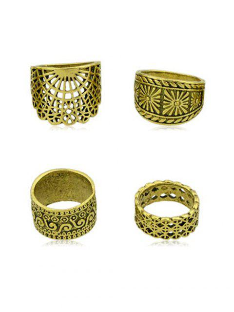 fancy 4Pcs Vintage Wide Ring Set - GOLD ONE-SIZE Mobile