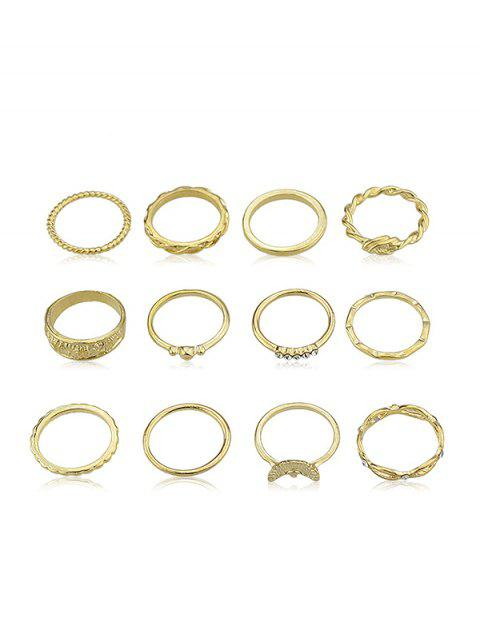 12Pcs Strass Dekoration Ring Set - Gold Einheitsgröße Mobile