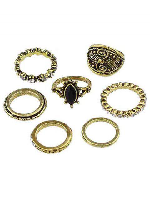 Strass-Legierung Fingerringe Set - Gold Einheitsgröße Mobile