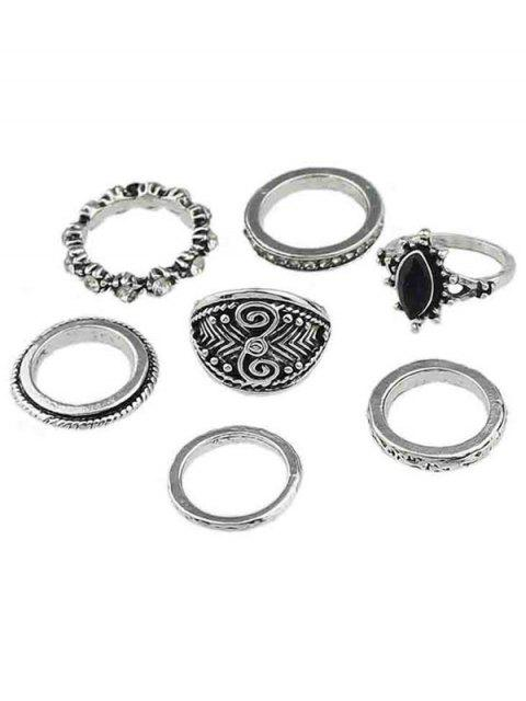 outfit Rhinestone Alloy Finger Rings Set - SILVER ONE-SIZE Mobile